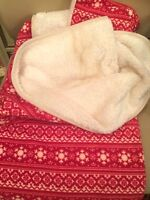 "SHERPA THROW BLANKET + PILLOWCASE~50""X60""~was $60"