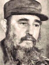 Impresión De Arte Pintura Retrato Cubano Revolucionario Presidente Fidel Castro nofl0079