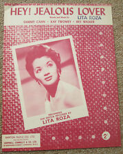 Hey! Jealous Lover. Lita Roza. Personally owned Sheet Music. Lita's own copy.