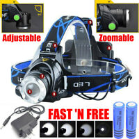 990000LM Rechargeable Head light LED T6 Tactical Headlamp Zoomable+Charger+18650