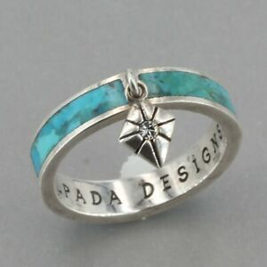 """Silpada Designs Sterling Turquoise Inlay """"Island"""" Charm Band Ring R2863 Size 6"""
