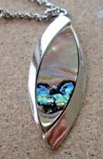 "Vintage Necklace Abalone Shell Pendant Silver colour 26"" by Exquisite"