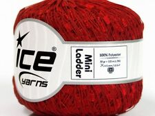 Red Mini Ladder Ribbon Yarn #58130 Ice Solid Color Not Metallic Ribbon 50 Gram