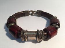 Pulsera Piel Marrón & Plata con Madera Ébano - Brown Leather & Silver Bracelet