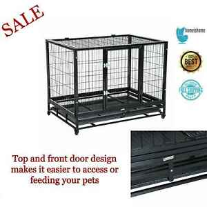 Large Metal Kennel Heavy Duty Dog Cage House Pet Crate Tray Rolling Strong Latch