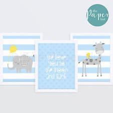 "Boy's Nursery Art Print Blue & Grey 8""x10"" Three Pack | Jungle Safari"