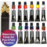 New! 12 Colours x 12ml DESIGNER WATERCOLOUR Paint Tubes Set + 8 Brushes Art Kit