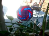 "Stained Glass Suncatcher  Patriotic,  6"" x 6"" Platinum ""The Strength of America"