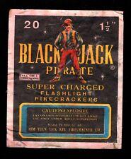 BLACK JACK PIRATE VINTAGE FIRECRACKER LABEL