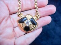 Authentic Vintage AVON Gold Tone Black Lucite & Rhinestone Statement Necklace
