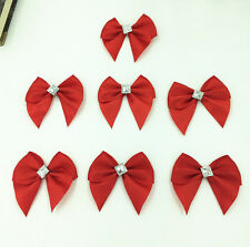 30pc Red Satin Ribbon Rhinestone Flowers Bows Craft Wedding Decoration 50mm