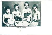 Group of Japanese Geisha girls postcard printed antique social history