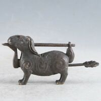 Rare Collectibles Chinese Old Style Brass Handmade Rabbit Lock With Key