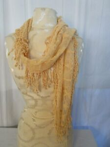 """CHICO'S Linny Cantaloupe Peach Lace Buff Nude Scarf 72"""" With Fringe NWT One Size"""