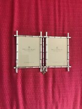 New Nwot Pottery Barn Silver Bamboo Double Picture Frame Photo 2 3 X 4