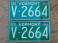"Pair of 1970's VT License Plates - 2 Vintage Tags - Set Lot - ""See Vermont"""