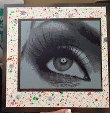 Custom Multi-Layered stencil Eye Spray Painting On Canvas Board