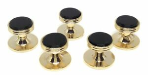 ONYX / GOLD TUXEDO SHIRT STUDS (5)  MANUFACTURERS DIRECT PRICING!!!
