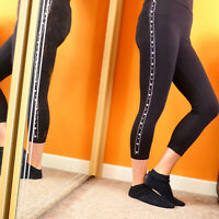 Sexy Black Cotton Calf Lenght Pearls Capri Leggings Shorts Pants 6 8 10 12 14 16