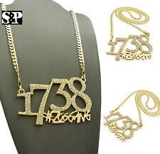 """Hip Hop Bling CZ 1738 Zoo Gang Pendant W/ 4mm 30"""" Concave Cuban Chain Necklace"""
