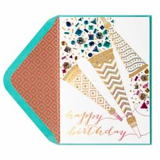 "Papyrus Happy Birthday Card ""Fancy Fun Party Blowers"" Amazing embellished $8.95"