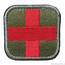 Medic Cross Tactical Morale Patch Military Army Badge Olive Square 2 inch
