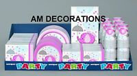 Pink Umbrellaphants Baby Shower Boy Party Decorations Tableware, Games