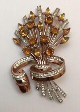 VINTAGE GORGEOUS RHINESTONE STERLING CORO CRAFT FLOWER BROOCH - PIN