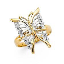 CZ Butterfly Ring Solid 14k White Yellow Gold Band Fashion Stylish Two Tone