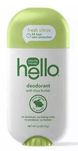 Hello Shea Butter Fresh Citrus Deodorant for Women + Men - 2.6 Ounce