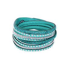 Leather Wrap Wristband Cuff Punk Crystal Rhinestone Multilayer Bracelet Bangle A