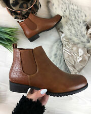 New Womens Ladies Chelsea Flat Ankle Boots Back Panel Pull On Casual Shoes SIZE