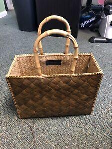 Vintage Lois Hill Straw - Bamboo Handles - Beach Handbag Purse Tote 9 x 12 x 5