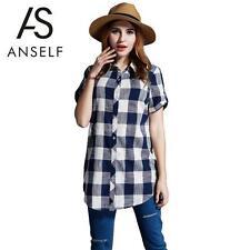 Collared Short Sleeve Regular Size Tops & Shirts for Women