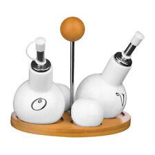 Premier Ceramic Condiment Set Oil/Vinegar Jars & Salt/Pepper Shakers with Stand