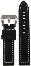 22mm Panatime Black Kevlar Style Flat Watch Band w/White Stitching 22/22 125/75