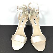 Nina Venetia Women's Size 8 M Ivory Crystal Satin Heel Dress Shoes.