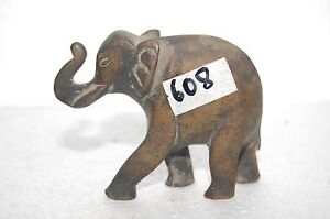 Indian solid Brass very nice elephant Figurine Rich Patina Late period NH608