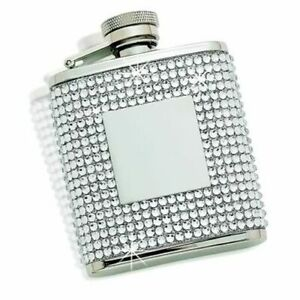 CGI Creative Gifts Flask with  White Crystals & Engraving