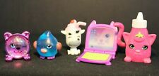 SHOPKINS - by Moose Toys - LOT of 5 - Bird, Cow, Cat clock,laptop & bottle