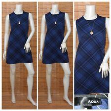 AQUA PLAID SHIFT DRESS S