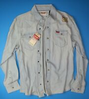 New Wrangler Long Sleeve Denim Shirt Bleached Indigo Color Trim Fit Men's Sizes