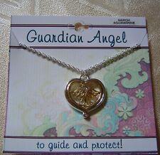 March Guardian Angel necklace,aquamarine crystal birthstone,2 tone plated,card