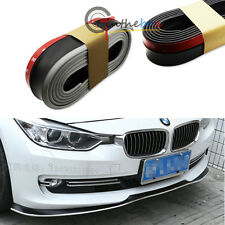 (1) Black w/ White PU Front Bumper Lip Splitter Chin Spoiler Body Kit Trim (8ft)