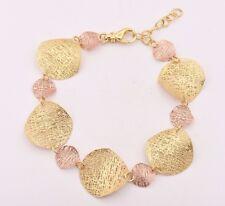 Filigree Wavy Textured Bracelet 14K Yellow Rose Gold Clad Silver 925 QVC