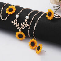 EE_ 5Pcs/Set HOT Sunflower Pendant Necklace Stud Earrings Ring Bracelet Jewelry