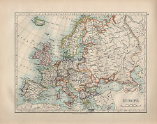 1899 VICTORIAN MAP ~ EUROPE ~ BRITISH ISLES SPAIN PORTUGAL FRANCE ITALY GERMANY
