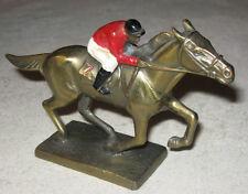 ANTIQUE K&O HORSE RACING MAN JOCKEY ART STATUE CHASE DESK EQUESTRIAN PAPERWEIGHT