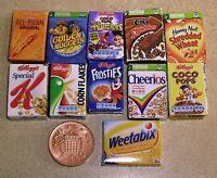 1:12 Escala Selección de 11 Cereales Cajas Miniatura para Casa Muñecas Comida
