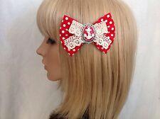 Red white anchor hair bow clip rockabilly pin up girl nautical sailor polka dot